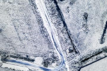 Snowy fields in wintwer time.