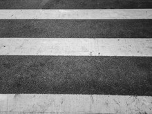 Intersection Zebra Crossing, Closeup, Blacn And White Style
