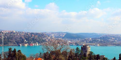 Fotografia  View of Istanbul Bosphorus and bridge, Rumeli Hisari town