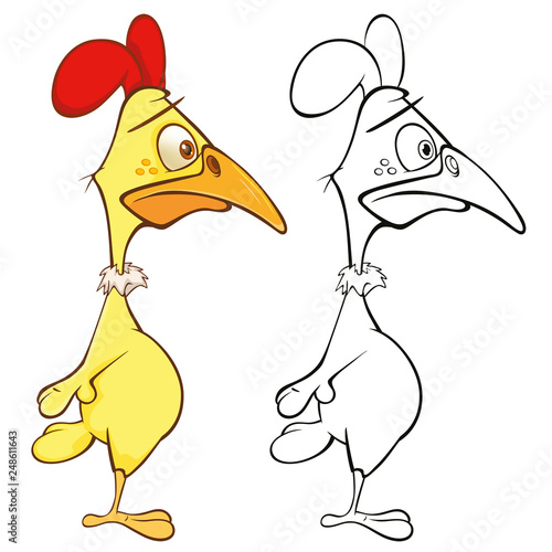 Vector Illustration of a Cute Cartoon Character Cock for you Design and Computer Game. Coloring Book Outline