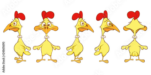 Vector Illustration of a Cute Cock Cartoon Character for you Design and Computer Game. Storyboard