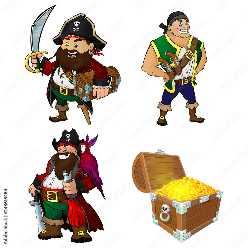 100 Pictures Cartoon Characters poster a set of cartoon characters pirates and treasure
