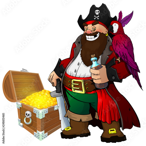 Photo Stands Indians Cartoon pirate with rum, parrot and treasure on white isolated background