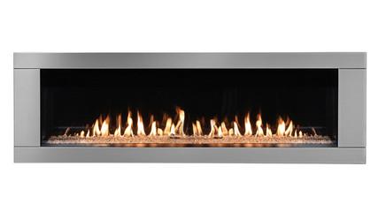Burning gas modern fireplace isolated on white background