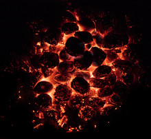 Glowing Hot Charcoal Briquette...