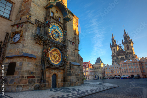 Photo Stands Prague Prague Old Town Square, sunrise at Astronomical Clock Tower, Czech republic, Europe.
