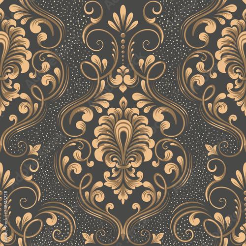 Vector Damask Seamless Pattern Element Elegant Luxury Texture For