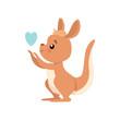 Cute Baby Kangaroo with Heart, Brown Wallaby Australian Animal Character Vector Illustration