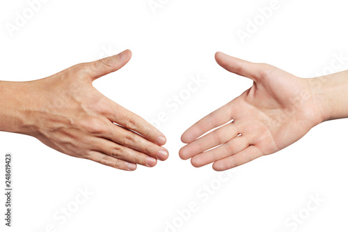 Hands greeting each other, isolated on white background Canvas Print