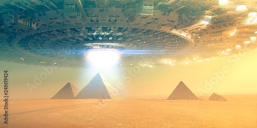 Photo Giant Flying saucer over pyramid in giza -  3d rendering