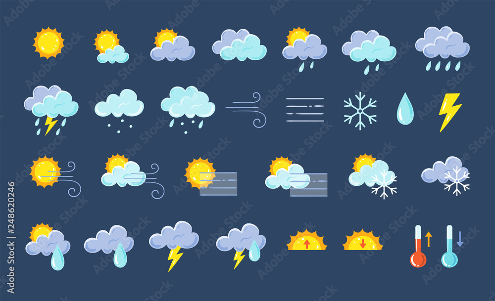 Fototapeta Weather icons pack. Colorful weather forecast design elements, perfect for mobile apps and widgets. Contains icons of the sun, clouds, snowflakes, wind, rain, temperature and more. 29 icons pack. - obraz na płótnie