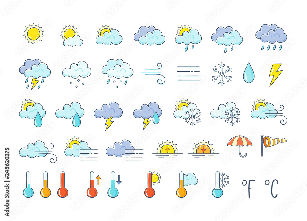 Fototapety, obrazy: Colorful weather icons set. Hand drawn weather forecast design elements isolated on white background. Contains icons of the sun, clouds, snowflakes, storms, wind, rain, and more.