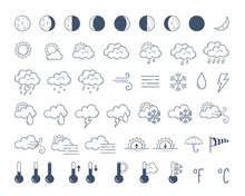 Weather Icons Pack. Hand Drawn...