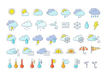 Colorful Weather Icons Set. Hand Drawn Weather Forecast Design Elements Isolated On White Background. Contains Icons Of The Sun, Clouds, Snowflakes, Storms, Wind, Rain, And More.