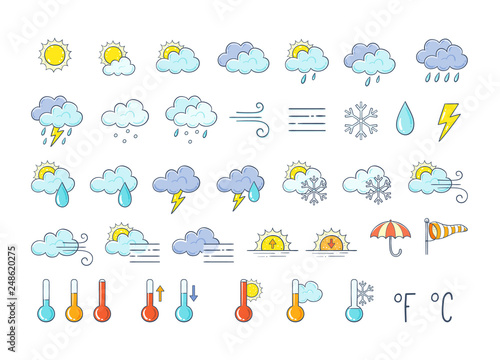 Colorful weather icons set Tablou Canvas