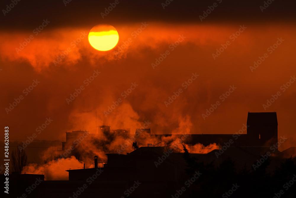 Fototapeta dym z fabryki, noc