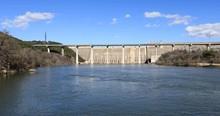 Austin Texas Mansfield Dam Colorado River Bridge. Dam Located Across The Colorado River, 13 Miles Northwest Of Austin, Texas.  Lower Colorado River Authority ( LCRA ) And The Bureau Of Reclamation.
