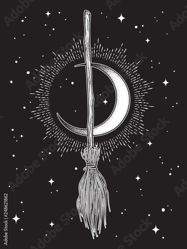 Leinwand Poster Broom magic vehicle of the witch hand drawn ink style boho chic sticker, patch, flash tattoo or print design vector illustration