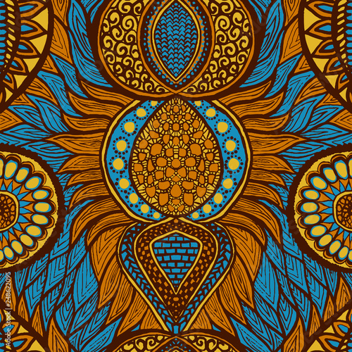 Carta da parati African print in blue, orange and yellow colors