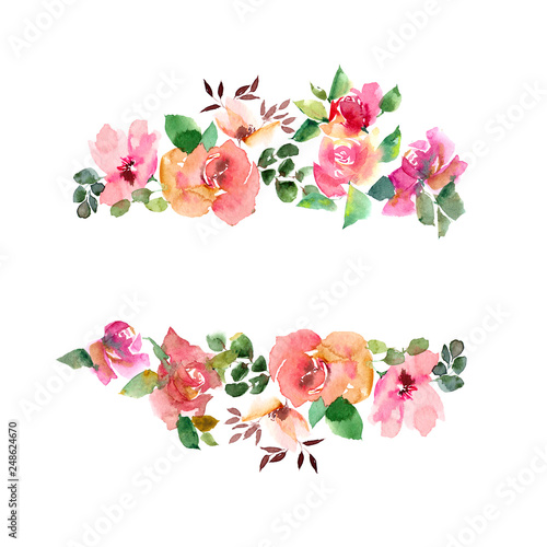 Fototapeta Floral Frame With Watercolor Roses Wedding Floral Invitation Greeting Card Design