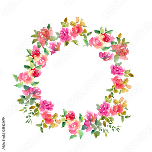 Floral frame  Floral wreath with watercolor flowers  Wedding