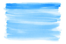 Blue Hand-painted Watercolor Background With Rough Edges