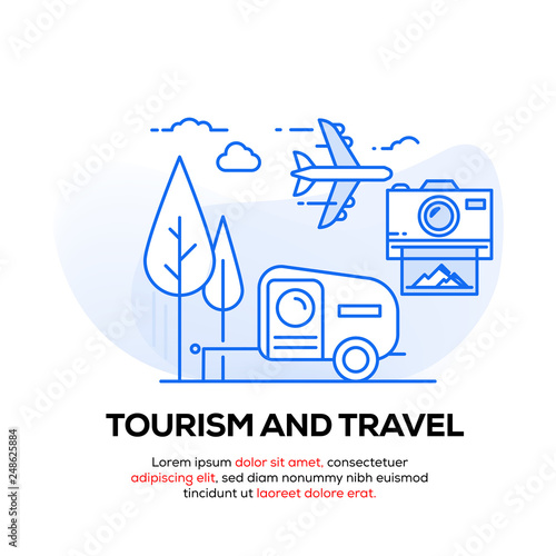 Fotografie, Tablou  TOURISM AND TRAVEL BANNER CONCEPT