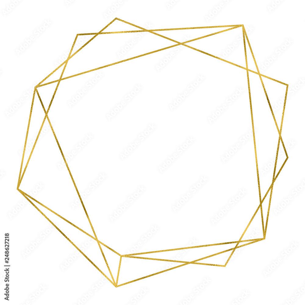 Fototapety, obrazy: Art deco style gold geometrical polyhedron linear frame