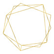 canvas print picture - Art deco style gold geometrical polyhedron linear frame