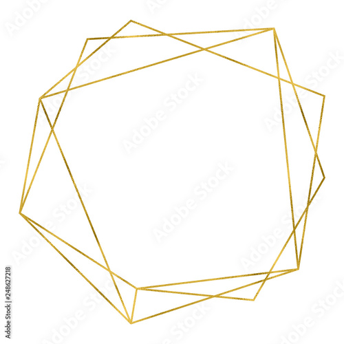 Art deco style gold geometrical polyhedron linear frame Wall mural