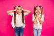 canvas print picture - Close up photo two little age girls hands arms head cheeks yell scream shout big fortune lottery shopping store mall wearing casual jeans denim checkered plaid shirts isolated rose vivid background