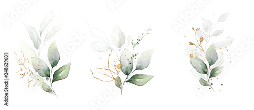 Fotografie, Obraz  watercolor arrangements with leaves, herbs