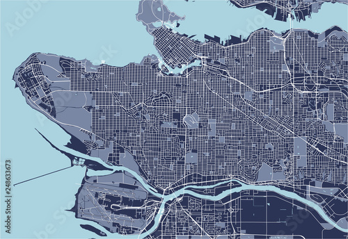 Cuadros en Lienzo  map of the city of Vancouver , Canada