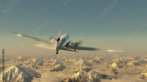 Airplane above the mountains Wallpaper Mural