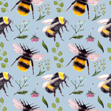 Seamless Pattern With Bumblebee