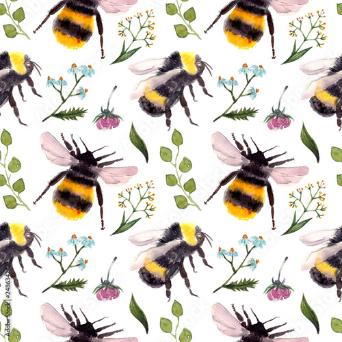 Fotografia seamless pattern with bumblebee