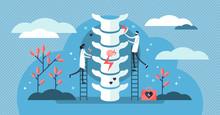 Chiropractor Vector Illustration. Tiny Alternative Medicine Person Concept.