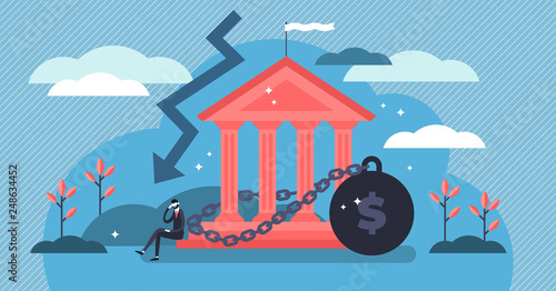Billede på lærred National debt vector illustration