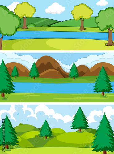 Poster Kids Set of simple nature background