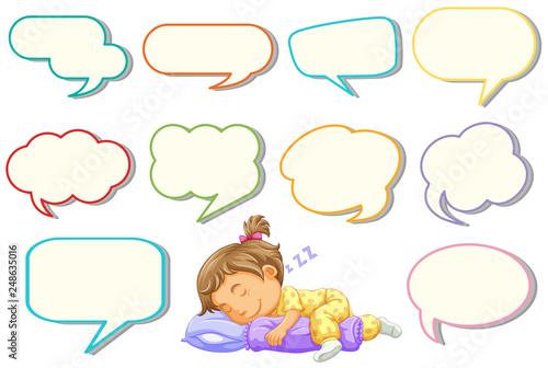 Fotobehang Kids Girl sleeping with different speech balloon