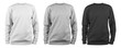 canvas print picture - set of men's blank sweatshirt template - white, grey, black, natural shape on invisible mannequin, for your design mockup for print, isolated on white background..