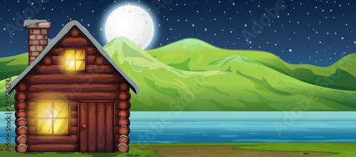 Poster Kids Cabin house at night scen