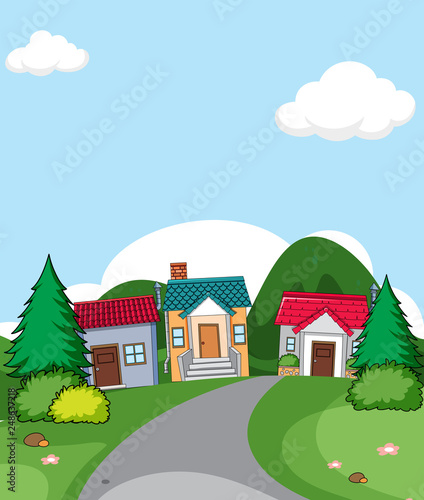 A rural house village scene
