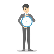 Man Smiling And Holding Clock....