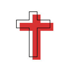 Red Christian Cross Symbol, Icon Of The Christian Faith On White Background.
