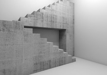 Concrete Stairway In Empty Whi...