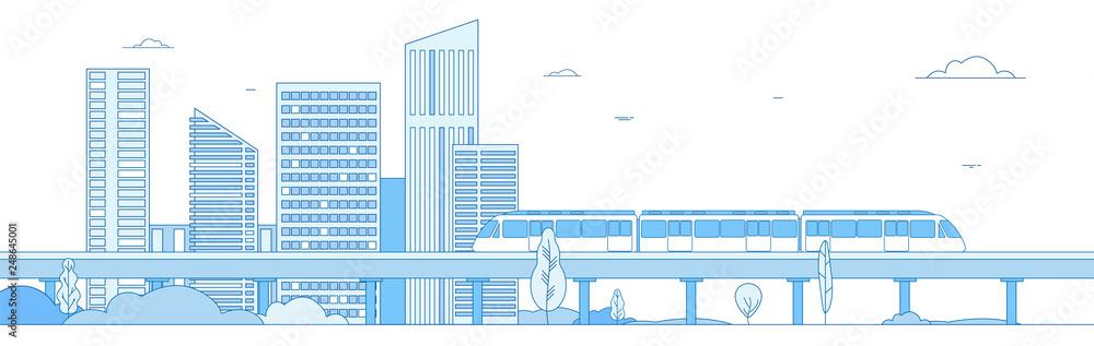 Fototapeta Subway cityscape. Monorail metro train in megapolis futuristic panorama. Underground transportation vector line concept. Express speed, fast train, cityscape building illustration
