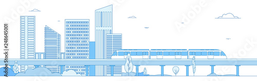 Obraz Subway cityscape. Monorail metro train in megapolis futuristic panorama. Underground transportation vector line concept. Express speed, fast train, cityscape building illustration - fototapety do salonu