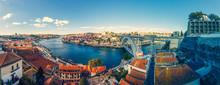 Panoramic View To Porto From Teleferico De Gaia