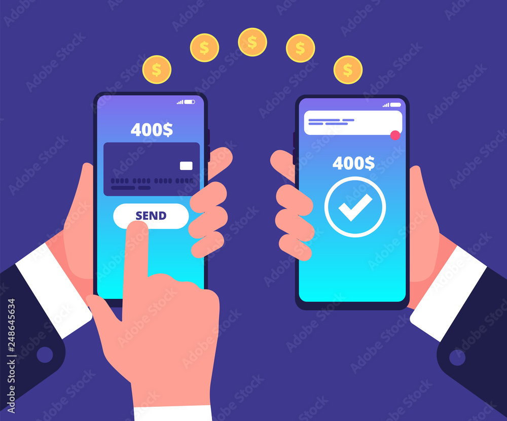 Fototapeta Online payment concept. Mobile transfers, wireless money payments with smartphone. Smart wallet vector background. Illustration of transfer payment, banking wallet online